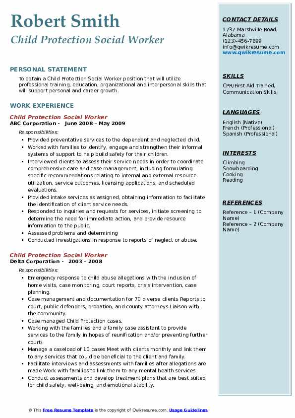 child protection social worker resume samples  qwikresume