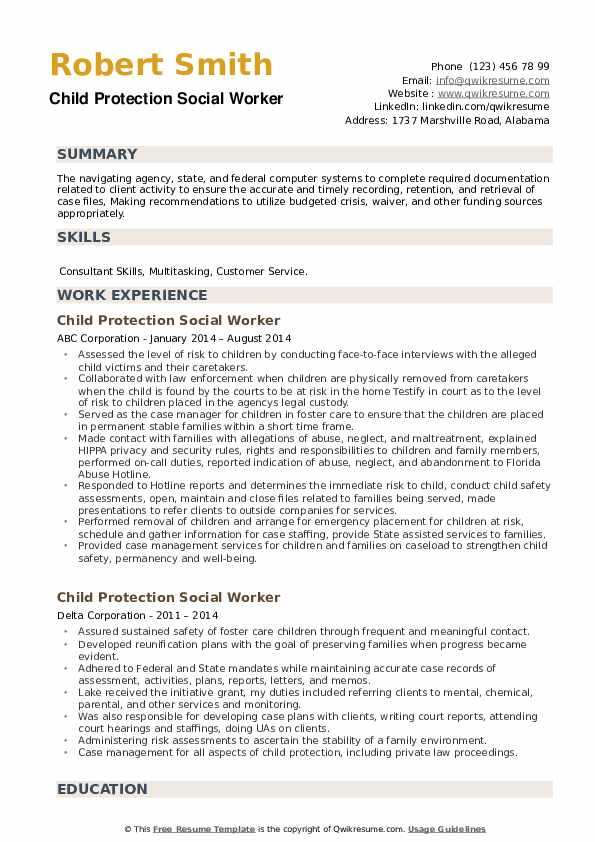 Child Protection Social Worker Resume example