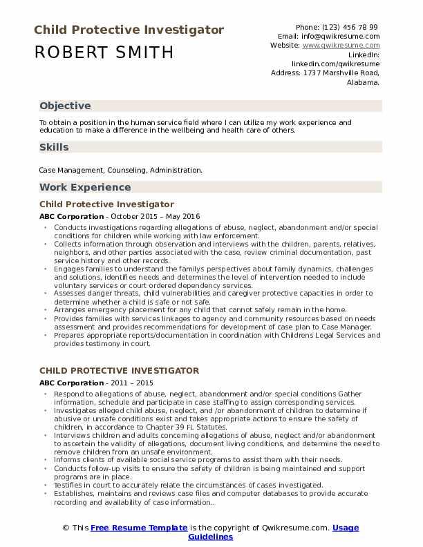 Child Protective Investigator Resume Format