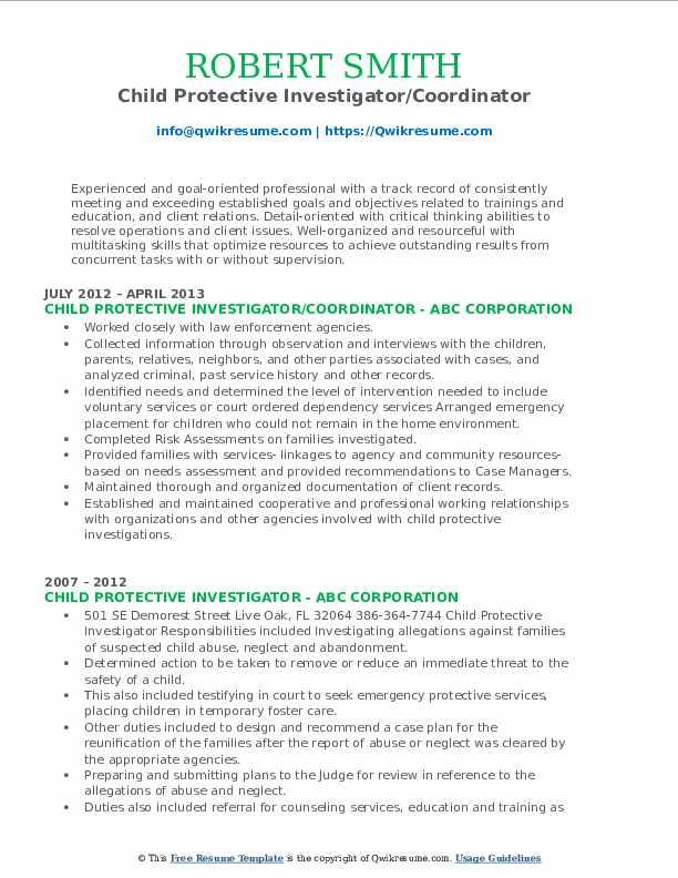 Child Protective Investigator/Coordinator Resume Format