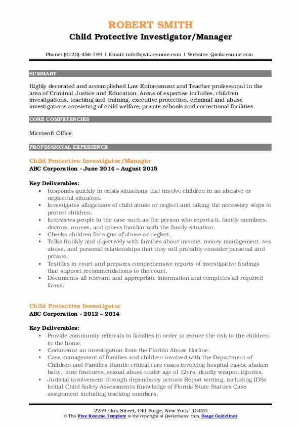 Child Protective Investigator/Manager Resume Model