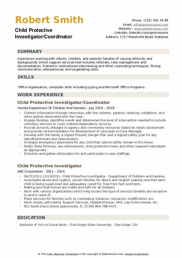 Child Protective Investigator/Coordinator Resume Sample