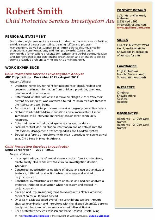child protective services investigator resume samples