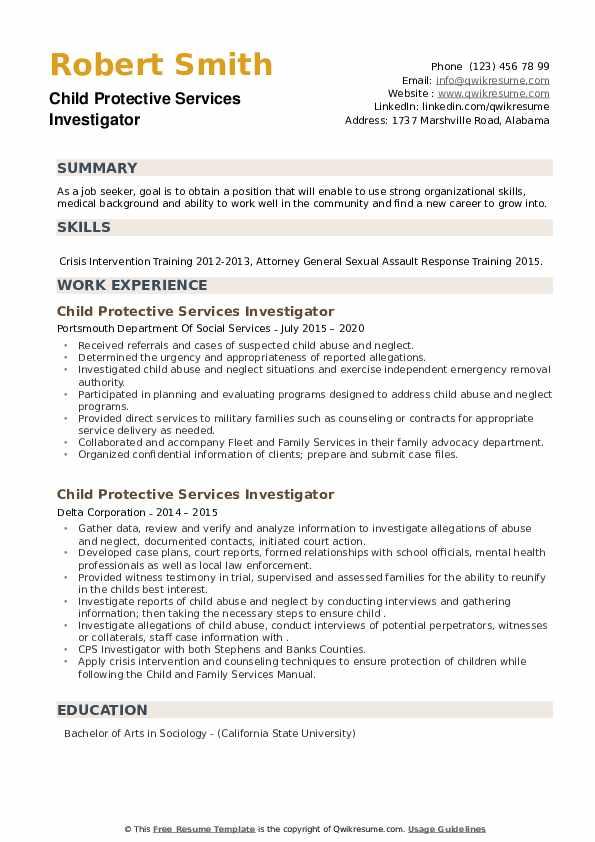 Child Protective Services Investigator Resume example