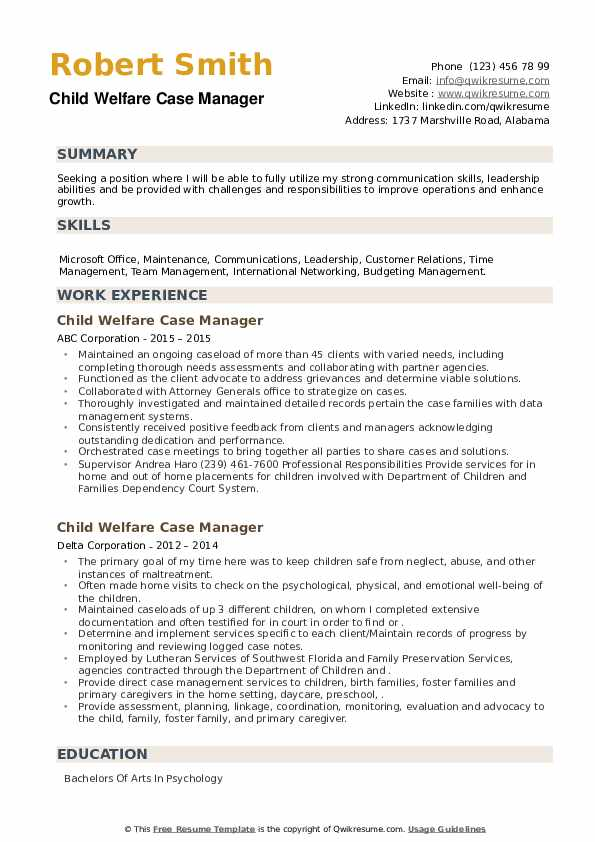 Child Welfare Case Manager Resume example