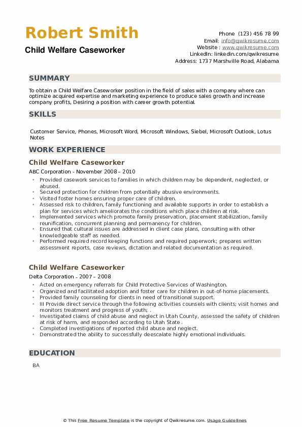 Child Welfare Caseworker Resume example