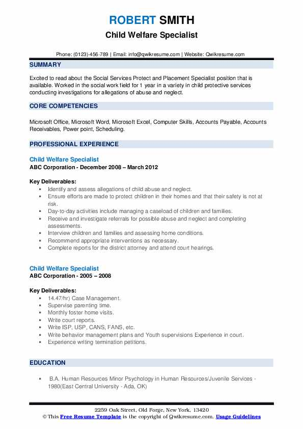 Child Welfare Specialist Resume example