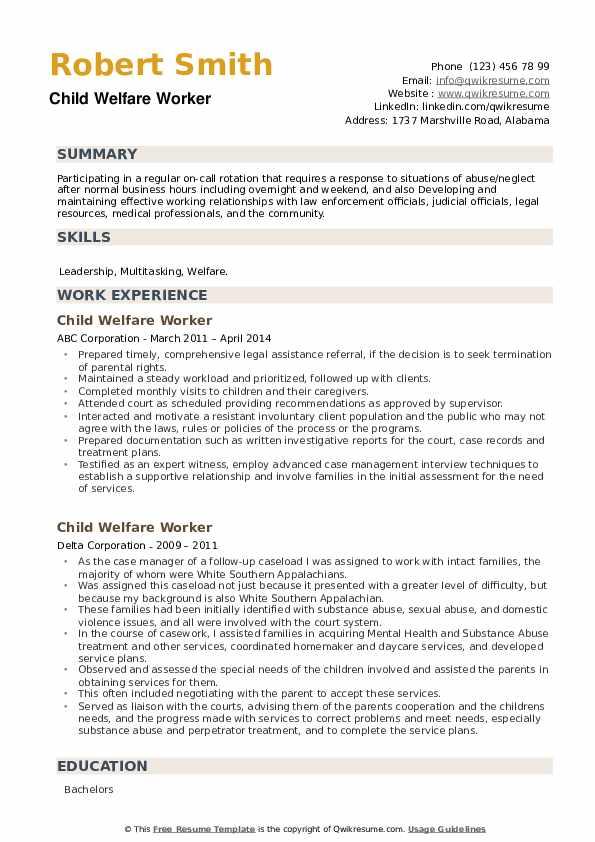 Child Welfare Worker Resume example