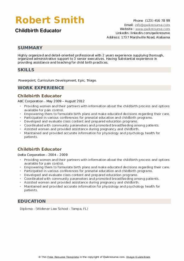 Childbirth Educator Resume example