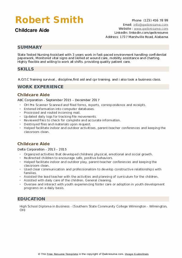 Childcare Aide Resume example