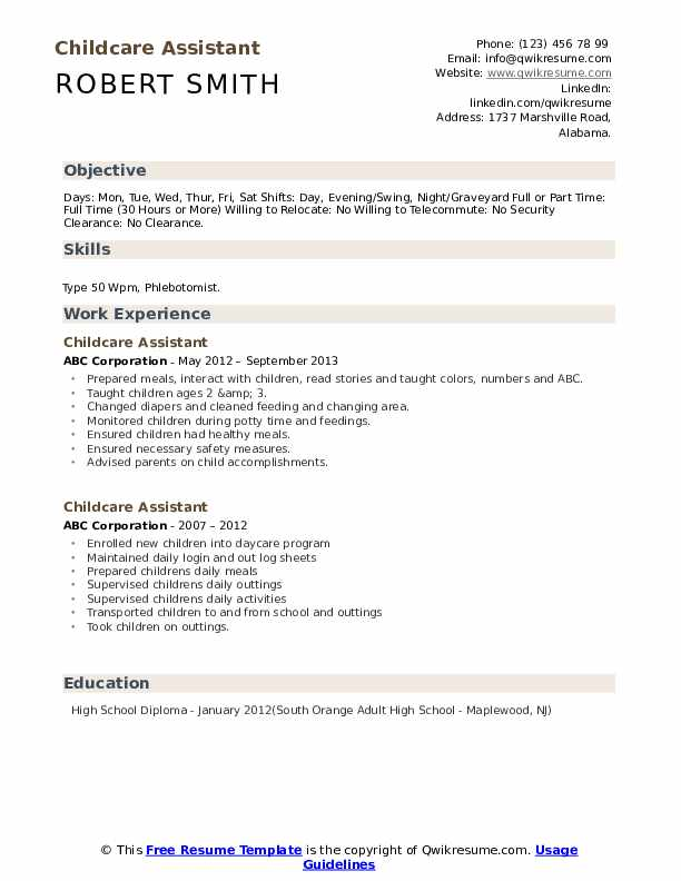 Childcare Assistant Resume Template