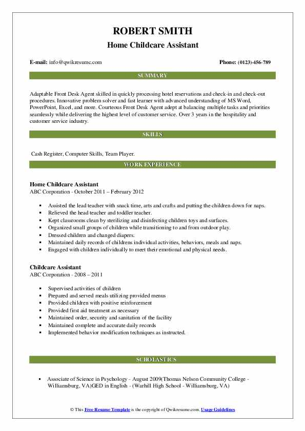 Home Childcare Assistant Resume Model
