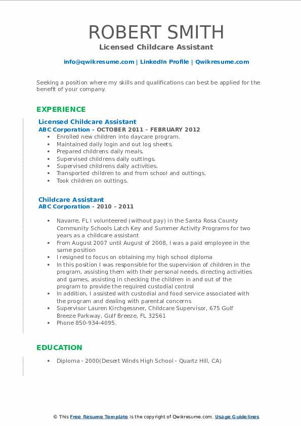 Licensed Childcare Assistant Resume Template