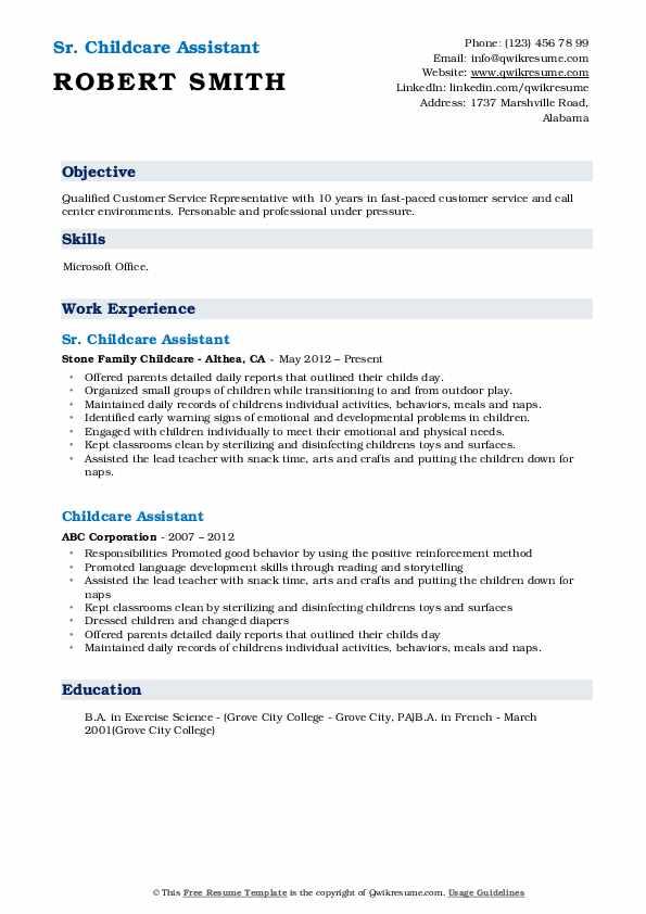 Sr. Childcare Assistant Resume Format