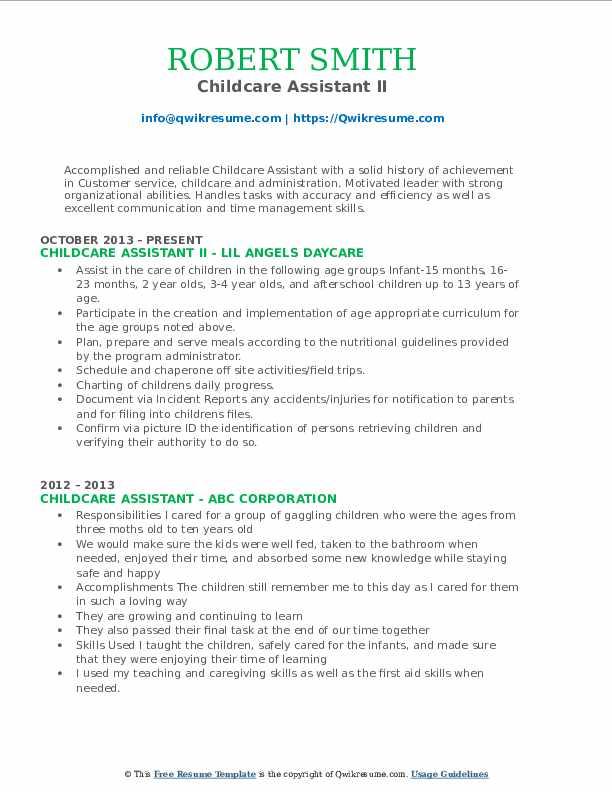Childcare Assistant II Resume Model