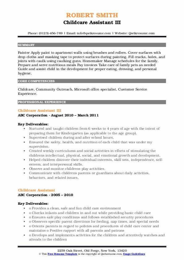 Childcare Assistant III Resume Sample