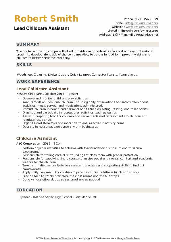 Lead Childcare Assistant  Resume Sample