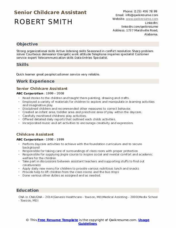 Senior Childcare Assistant Resume Example