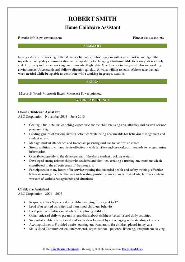 Home Childcare Assistant Resume Format