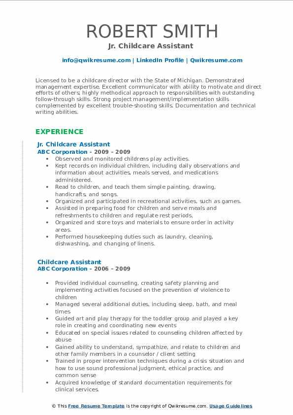 Jr. Childcare Assistant  Resume Format
