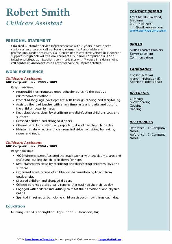 Childcare Assistant Resume example