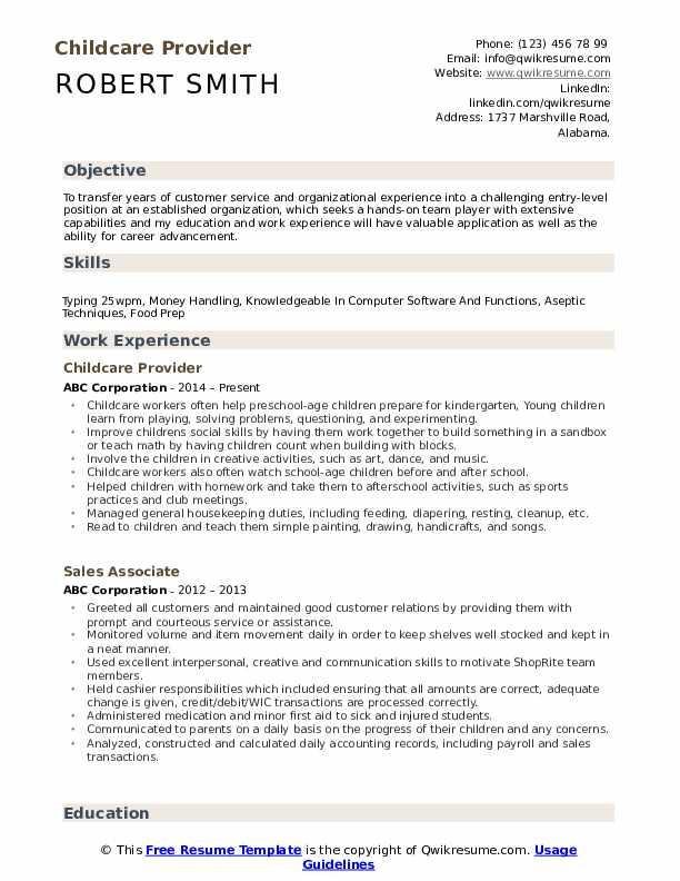 childcare provider resume samples  qwikresume