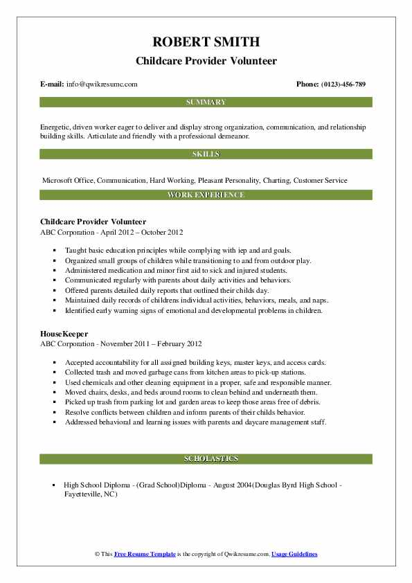 Childcare Provider Volunteer Resume Example