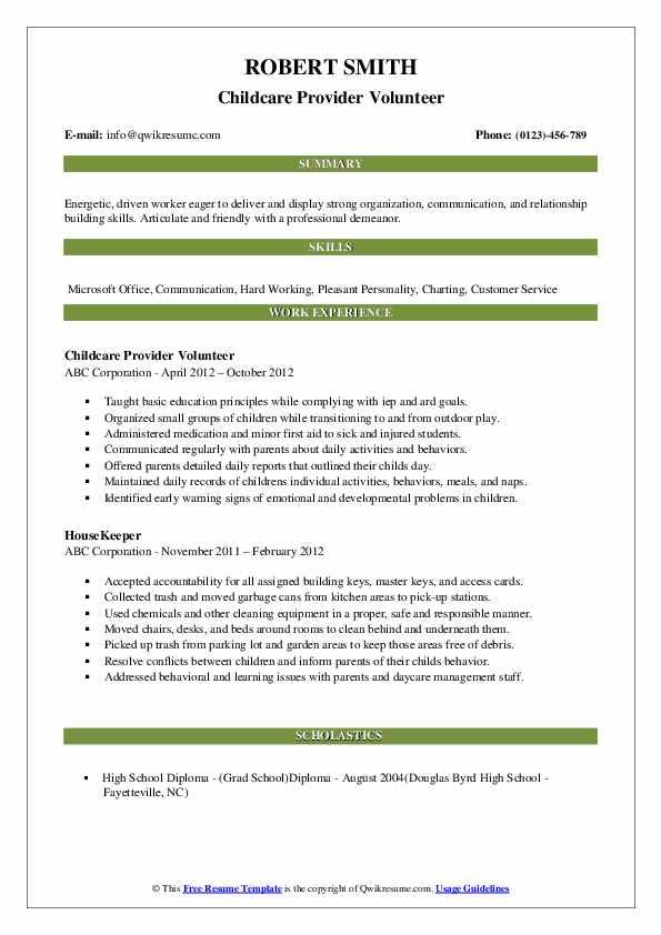 Childcare Provider Volunteer Resume Template