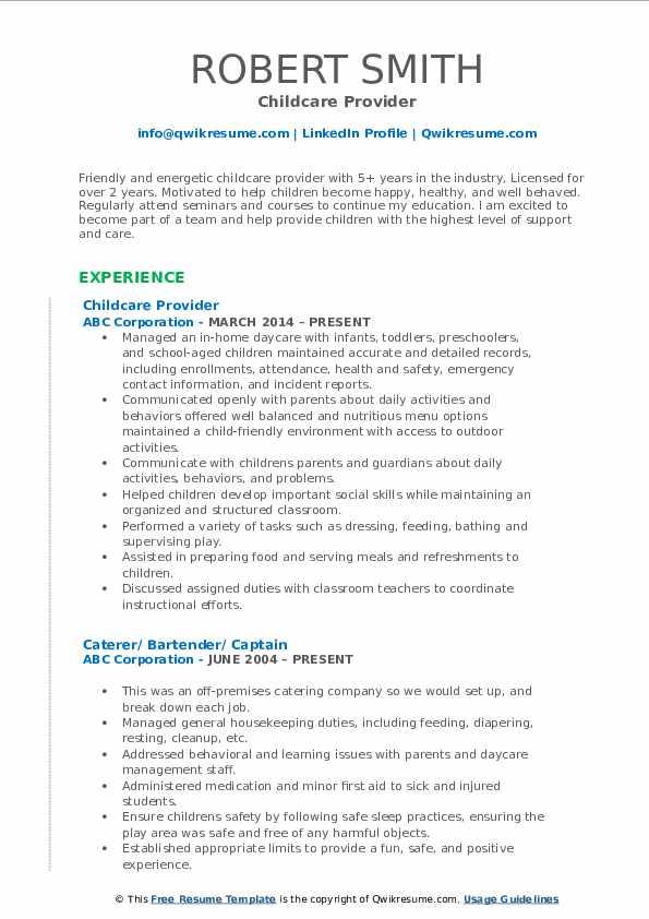 Childcare Provider Resume Model