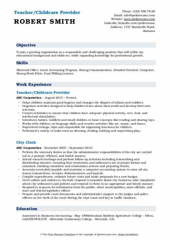 Teacher/Childcare Provider Resume Format
