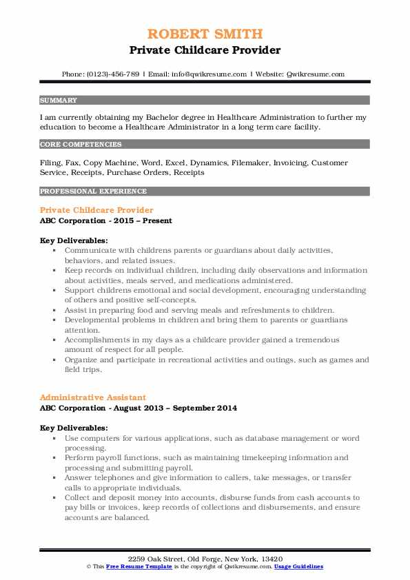 Private Childcare Provider Resume Template