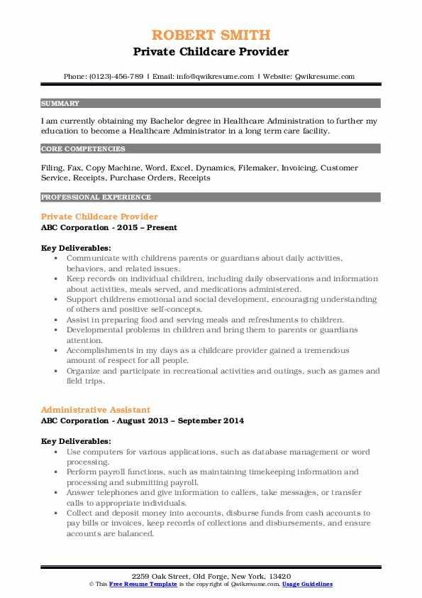 Private Childcare Provider Resume Format