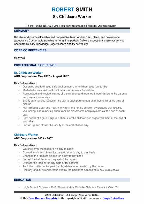 Sr. Childcare Worker Resume Format