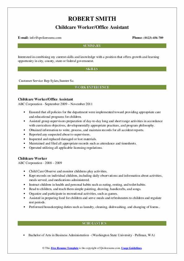 Childcare Worker/Office Assistant Resume Model