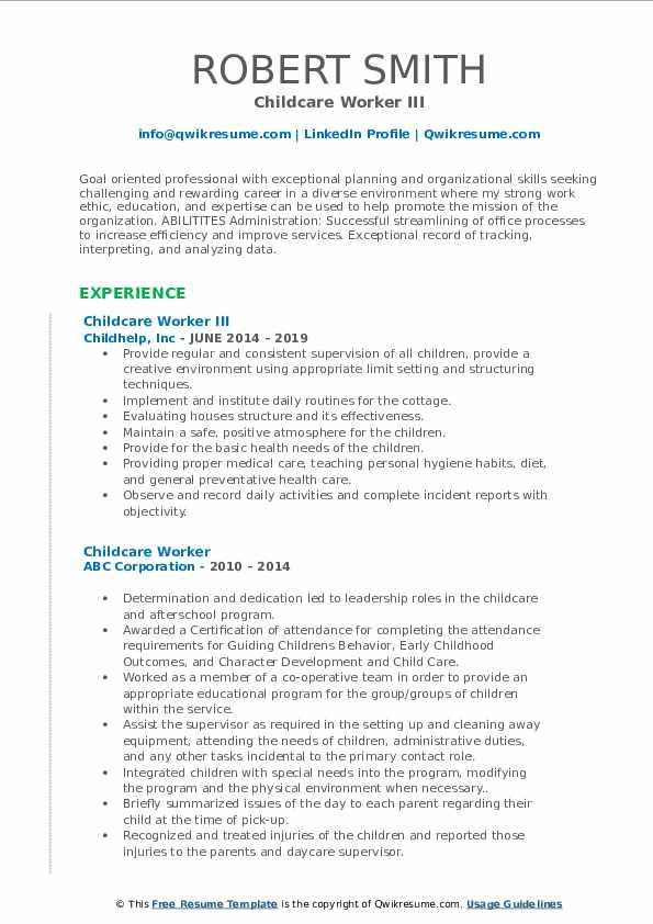 Childcare Worker III Resume Sample