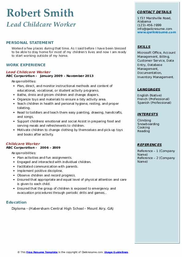 Lead Childcare Worker Resume Format