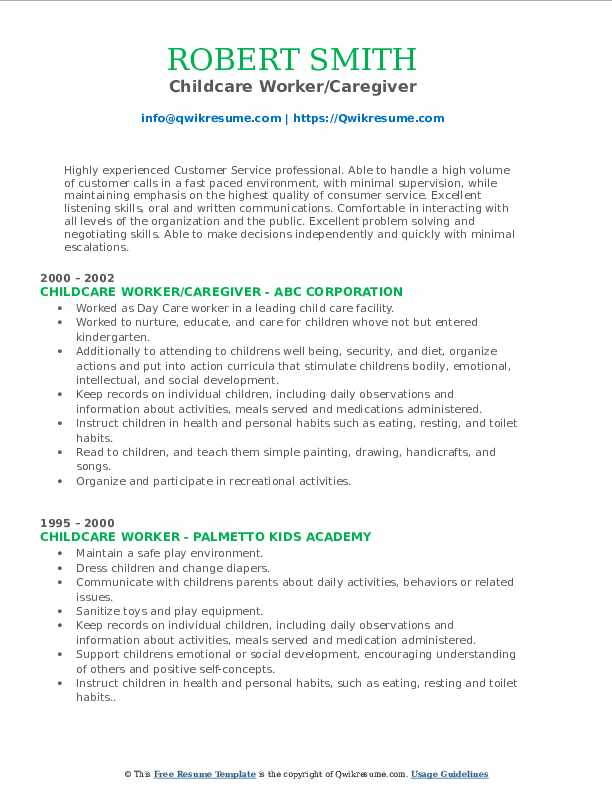 Childcare Worker/Caregiver Resume Example