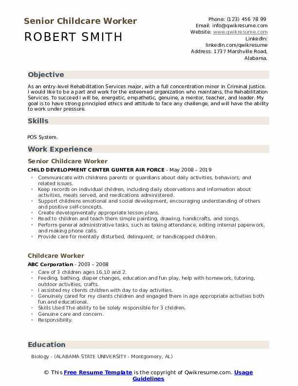 Senior Childcare Worker Resume Example
