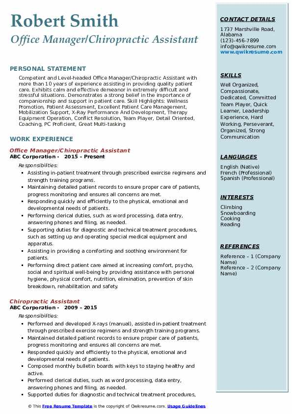 Chiropractic Assistant Resume Samples Qwikresume