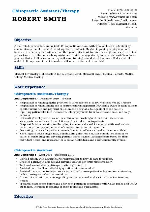 Chiropractic Assistant/Therapy Resume Template