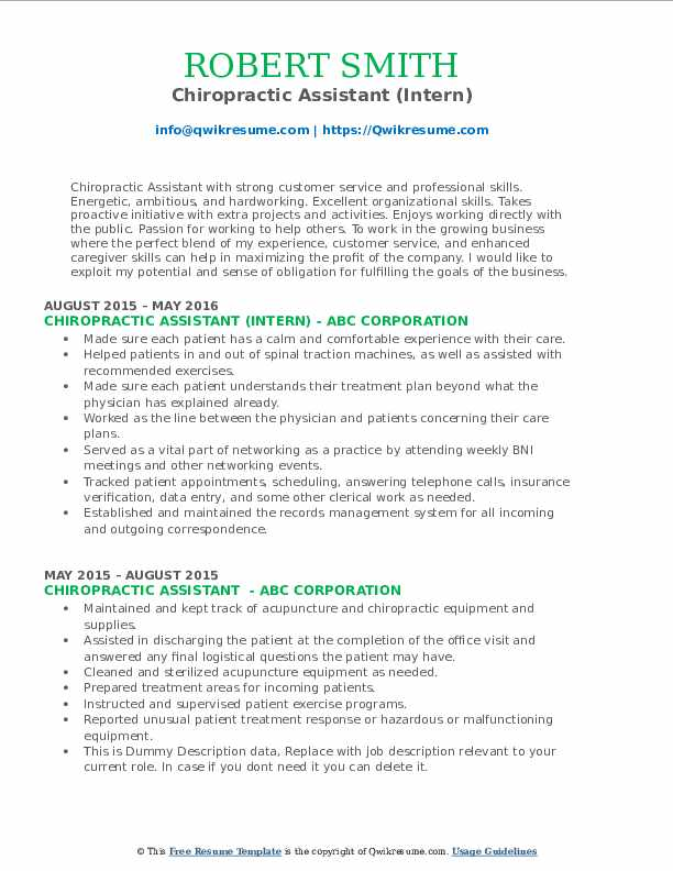 Chiropractic Assistant (Intern) Resume Format