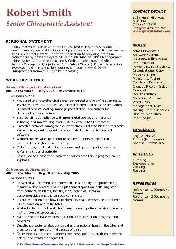 Senior Chiropractic Assistant  Resume Format
