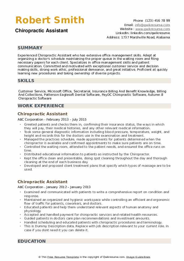 Chiropractic Assistant Resume Example