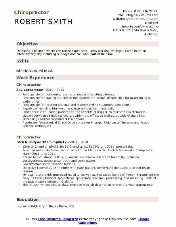 Doctor of chiropractic resume