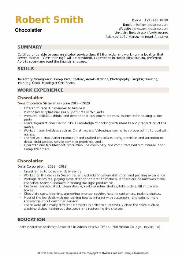 Chocolatier Resume example