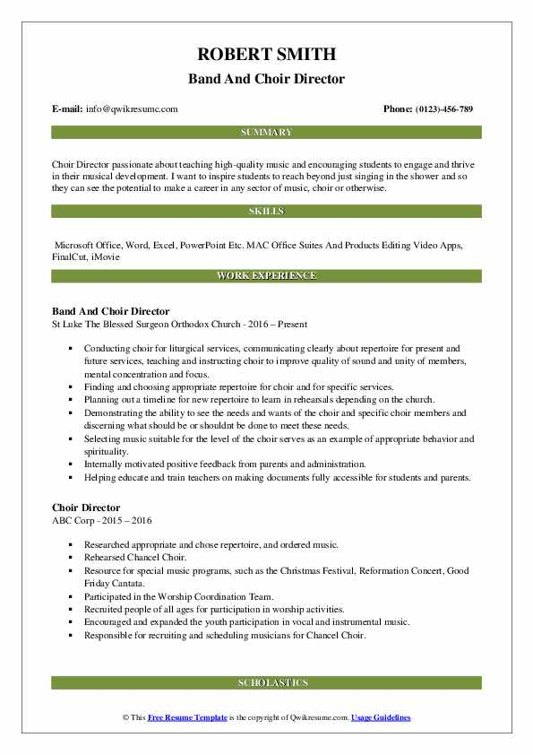 Band And Choir Director Resume Template