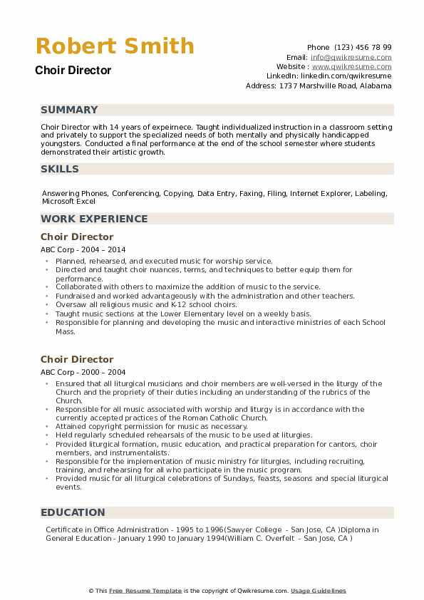 Choir Director Resume example