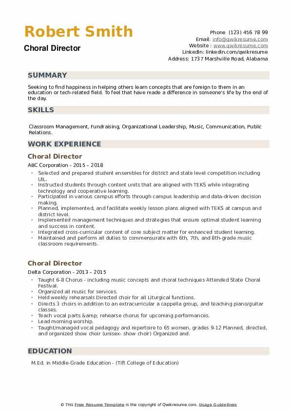 Choral Director Resume example