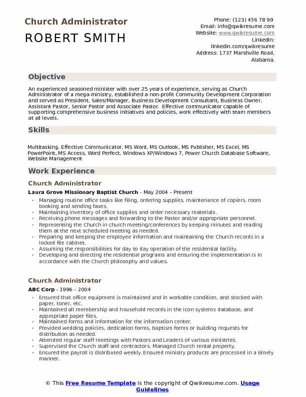 church administrator resume samples qwikresume