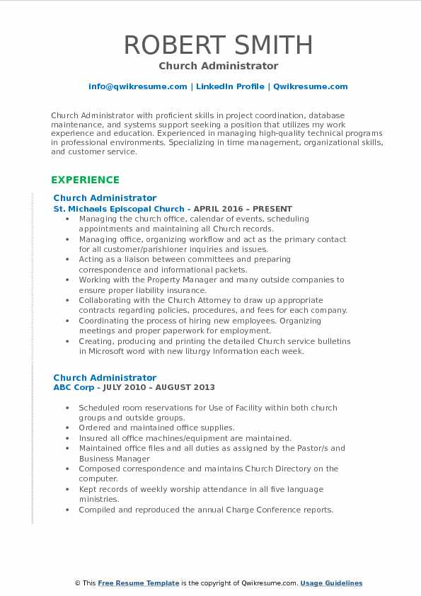 church administrator resume samples